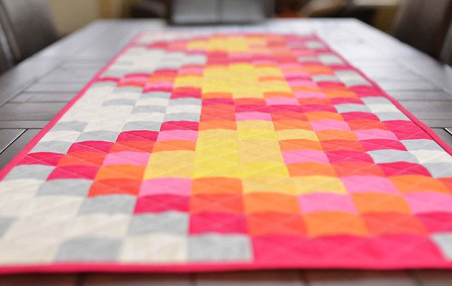 pixelated hearts table runner