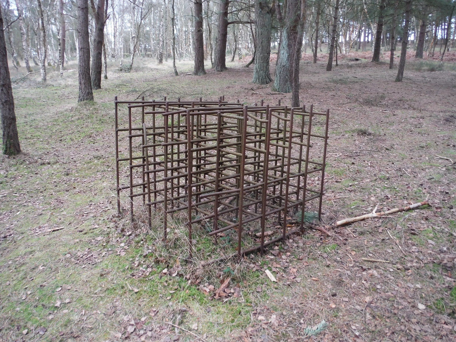 Cubic Steel Structure, The Atlantic Wall, Hankley Common SWC Walk 144 Haslemere to Farnham - Atlantic Wall Extension