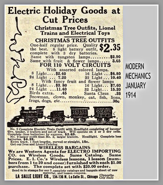 1914 CHRISTMAS TREE LIGHTS, LIONEL TRAINS