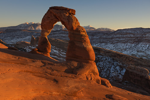 delicatearch lasalmountains moab utah southwest usa america sunset arch nature archesnationalpark