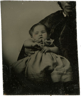 Enlargement of Tintype of Baby out of the Mat - Hidden Mother