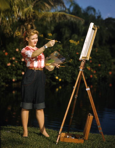 Candy Tilton Ulrich painting at Sarasota Jungle Gardens by State Library and Archives of Florida
