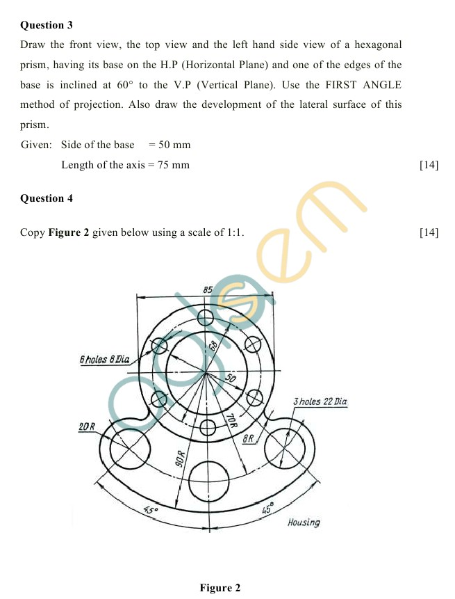 ICSE Class 10 Technical Drawing Sample Paper