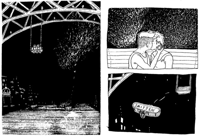 comic features two people kissing on a bridge
