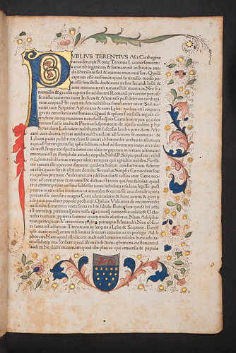 Decorated page with coat of arms in Donatus, Aelius: Commentarius in Terentii Comoedias