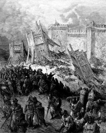 9. Máquinas de asalto frente a las murallas. De la obra Las Cruzadas. Gustavo Doré (1832-1883)