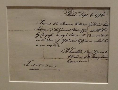 Goddard's Postal Pass Signed by Ben Franklin
