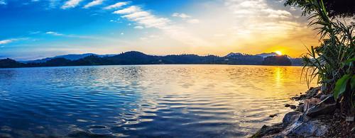 africa lake water sunrise panoramic rwanda lakekivu kivu