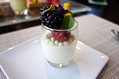 Vanilla Panna Cotta, White Chocolate Crocante, Mixed Berries
