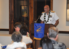 Rear Adm. Robert Girrier addresses members of the Navy League Honolulu Council during their annual meeting and elections dinner, Jan. 23. (U.S. Navy Photo by Mass Communication Specialist 1st Class David Kolmel)