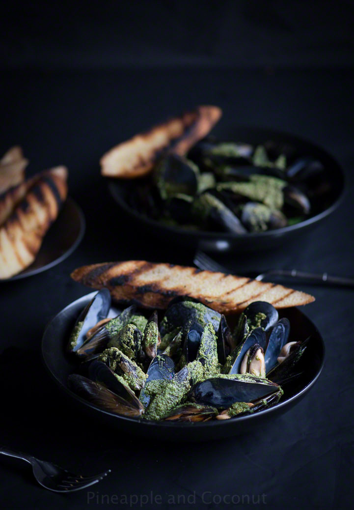 12898555525 4af6d9764b o Steamed Mussels with White Wine Cilantro Pesto Sauce