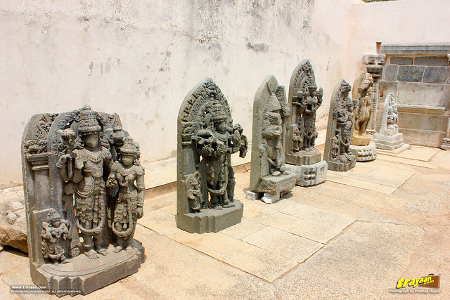 Some idols kept outside in the cloister near the entrance porch at Keshava Temple, Somanathapura, Mysore district, Karnataka, India