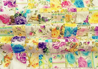 Patchwork Vintage Floral Fabric with Embroidery