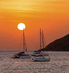 Sunset on the beacn with yachts and catamarans. Phuket              AD4A5565s
