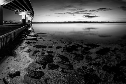 rock usa landscape calm reflection ©edrosack panorama florida lights titusville river buildingandarchitecture water centralflorida bw merrittislandnationalwildliferefuge highres bridge blackandwhite minwr monochrome