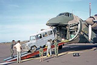 1973 RNZAF Bristol Freighter NZ5903 Trekka being unloaded at Phu Cat Airport, NW of Qui Nhon, Vietnam