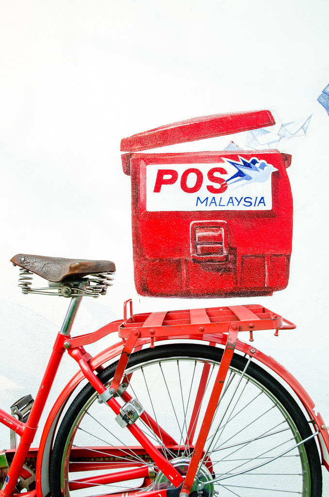 POS Malaysia drawing with bicycle at the hotel.