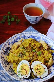 Risotto ai carciofi con semi di lino, zucca e sesamo, zafferano e uova sode 5