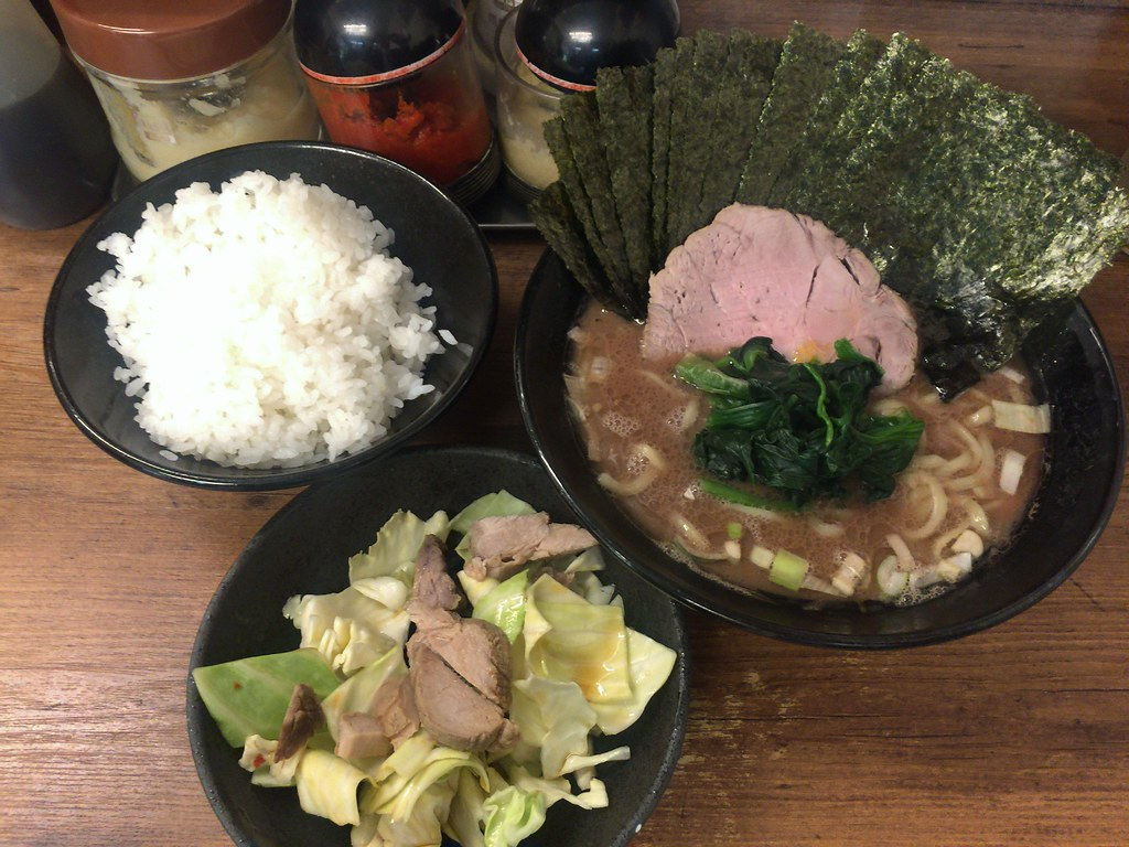 Ramen, rice and cabbage and Chashu at Budoka, Kichijoji
