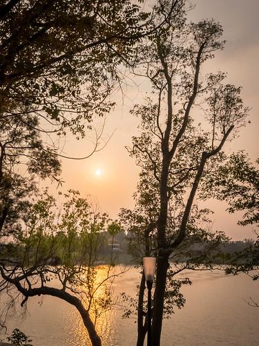 lake sunset twilight