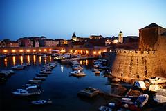 Dubrovnik harbour at night