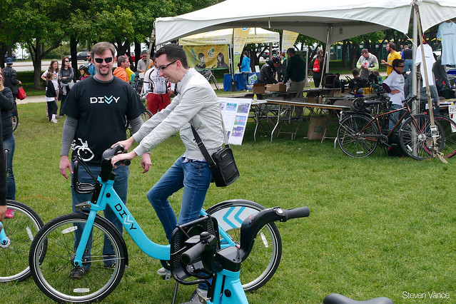 Kevin checks out a Divvy bike