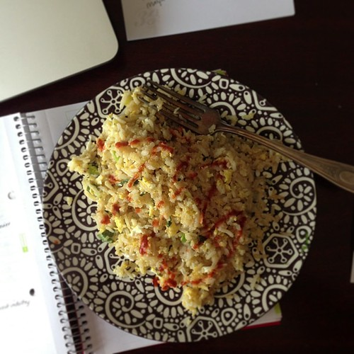 Ginger and scallion egg fried rice for lunch. #leftovers #nofilter