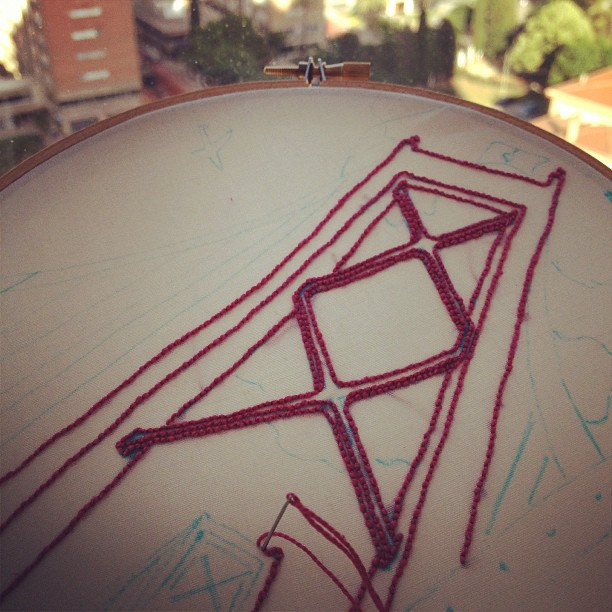 Some progress on my embroidered illustration. #airingfromlisbon (actually in #bcn)