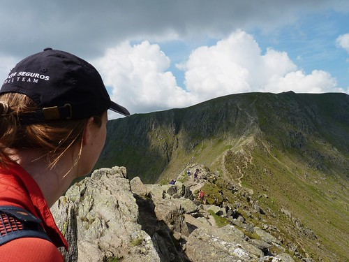 Looking over the razor-sharp ridge of Striding Edge to the summit of Helvellyn