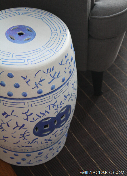 blue & white Chinese garden stool