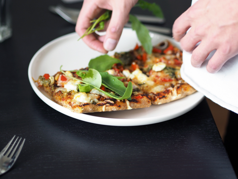 rucola and homemade pizza