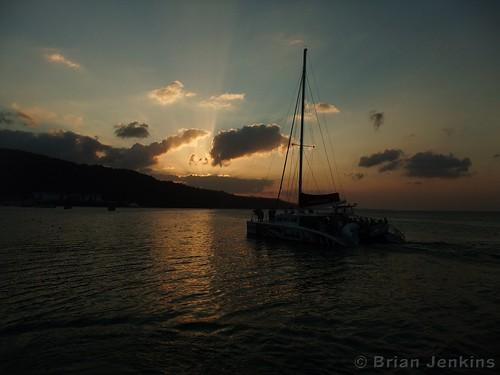 sunset jamaica catamaran caribbean ochorios