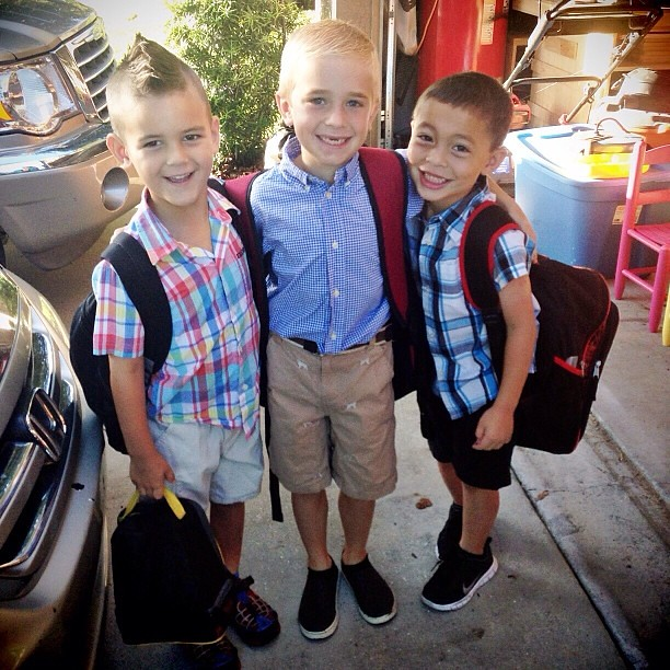 It's picture day... handsome boys! Here's 3 of the 5 crazies I take to school 3 days a week. Just call me the school bus! #reducingthecarlineby3cars #overcrowdedschool #loveourvillage @lillybrussow @lisa_lbphoto