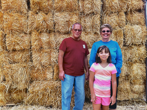 Posing in the front of the hay maze at  Soergel's