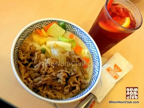 Beef Gyudon Rice with Vegetables + Red Iced Tea
