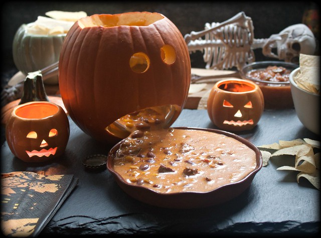 Barfing pumpkin with simple queso chili cheese dip