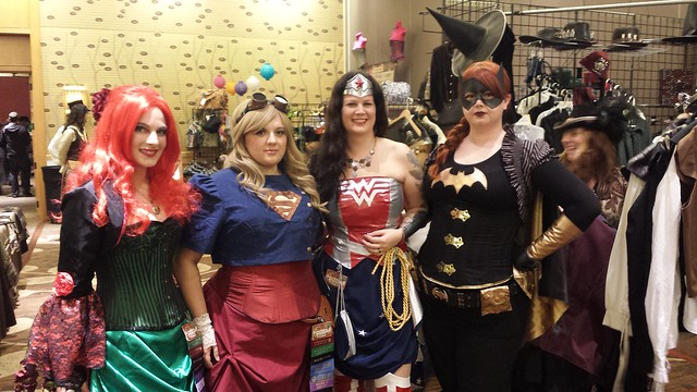 Superheroines in Vendor Hall at Steamcon
