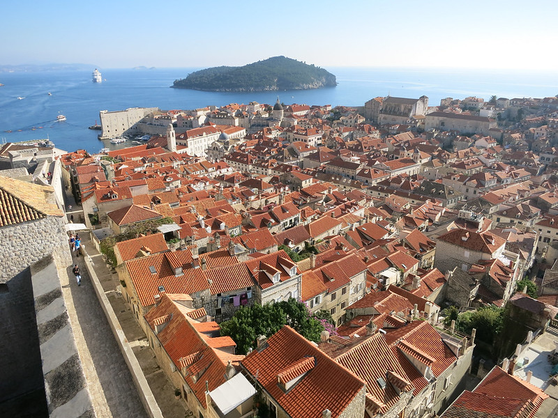 Lokrum Island and red roofs