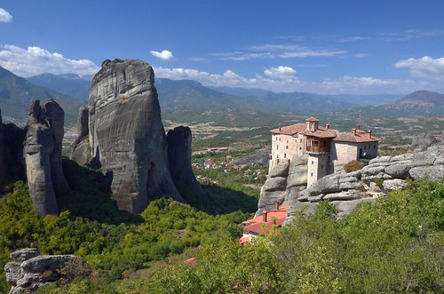 city trees mountains forest day monastery meteora rockform pwpartlycloudy outstandingrocks