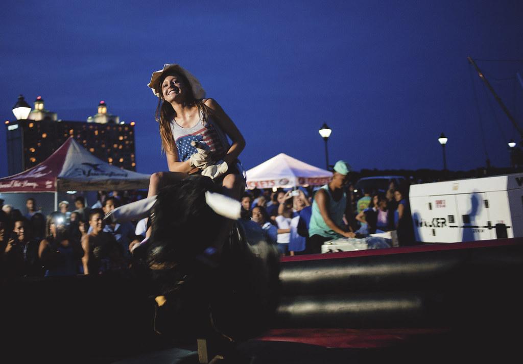 Bull riding on the pier, Savannah, Georgia