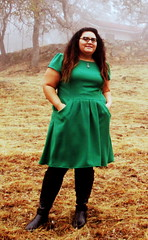 Emerald wool crepe dress