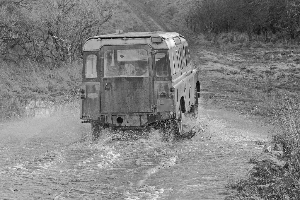 Land Rover in a Winterbourne