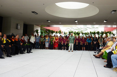 <p>Hundreds attended the official grand opening of Hale'ōlelo, the new home of theUH Hilo Ka Haka 'Ula O Keæelikōlani College of Hawaiian Language on Saturday, January 11, 2014. Associate Professor Hiapo Perreira gave the opening speech in Hawaiian on behalf of the college.</p>