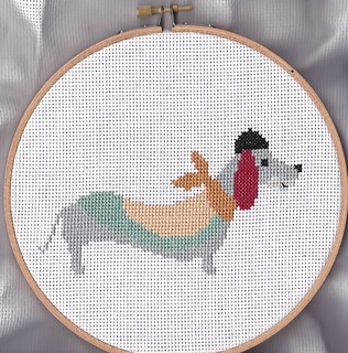 cross stitch  patchwork dachshund