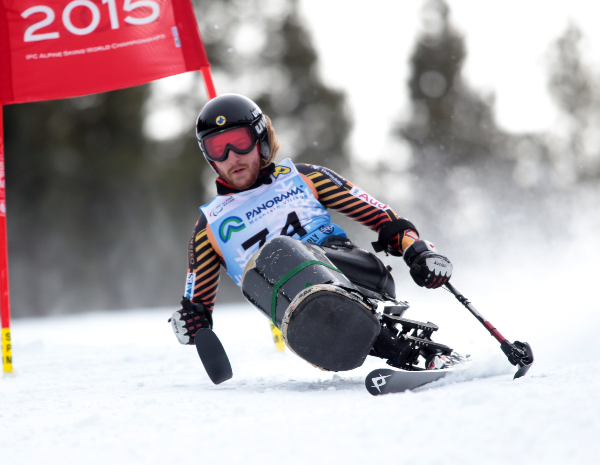 Caleb Brousseau sails down the mountain during the Super-G in Panorama, CAN