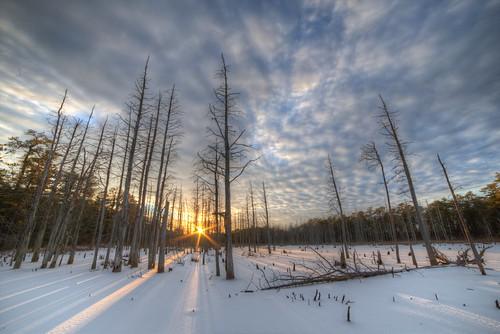 sunset lake ice frozen newjersey day cloudy nj hdr 2014 cedarswamp canon6d rokinon14mm staffordforgewma pwwinter