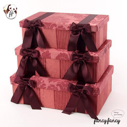 85.優雅宮廷風緞帶蝴蝶結收納盒(美國設計 大中小三個一組)-紫紅色
