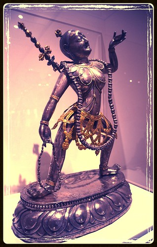 Vajrayogini the savor, enlightened being, malas, bone ornaments standing on a lotus, drinking nectar, statue, Art Institute, Chicago, Illinois, USA, by Wonderlane