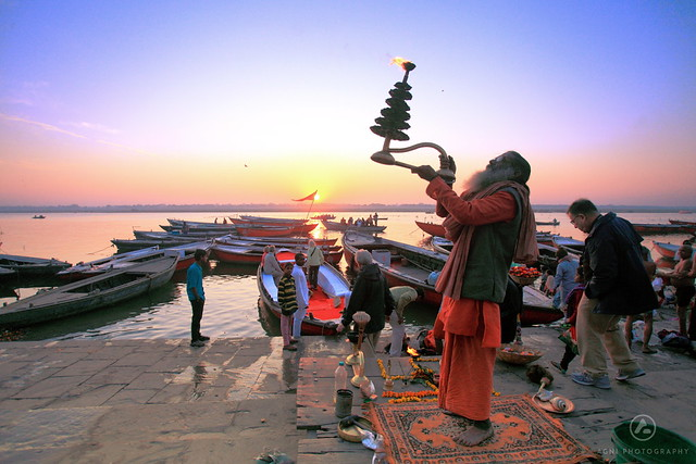 A sadhu performing Ganga Arthi at Dashashwamedh Ghat, Varanasi