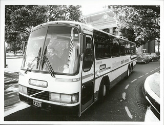 Road Services coach leaving the Wellington Railway Station